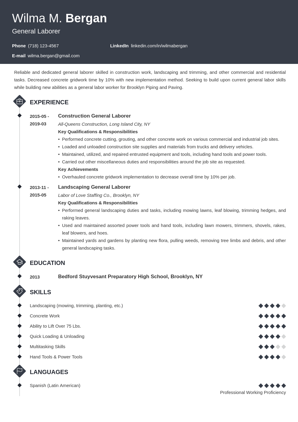 general labor resume example template diamond