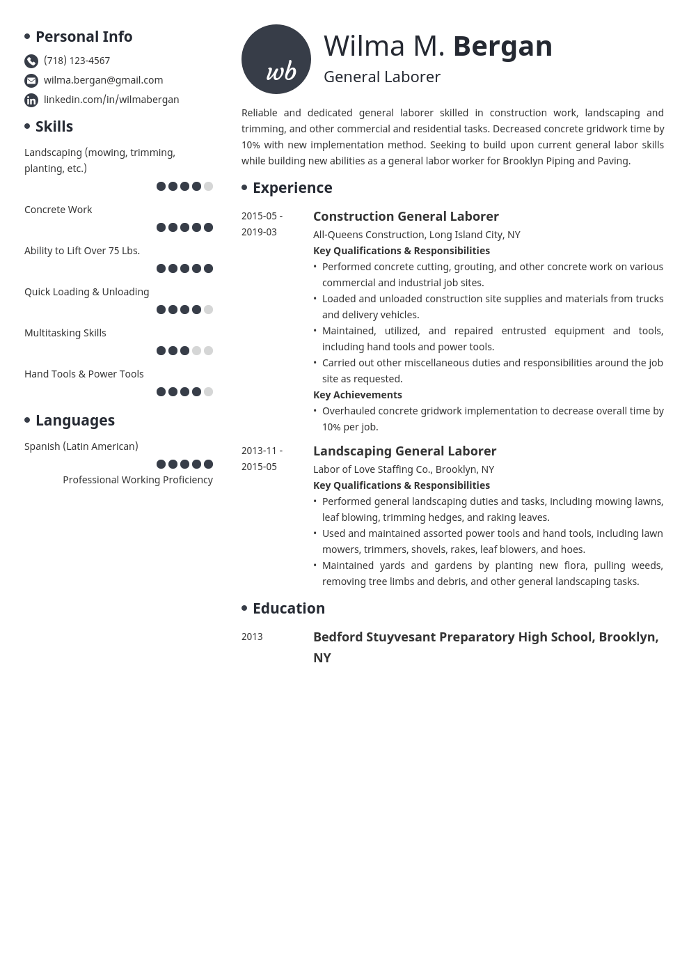 general labor resume example template initials
