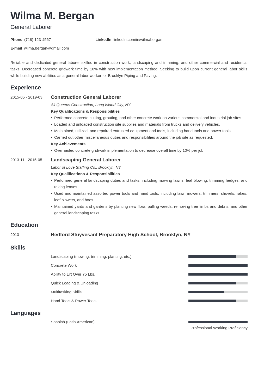 general labor resume example template minimo
