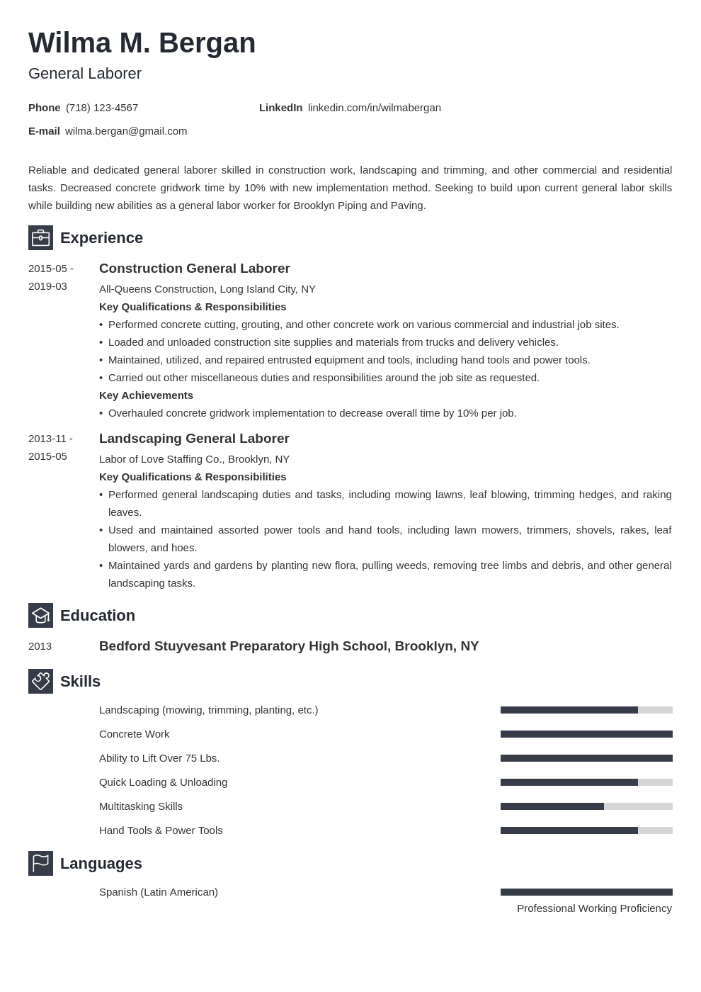 general labor resume example template newcast