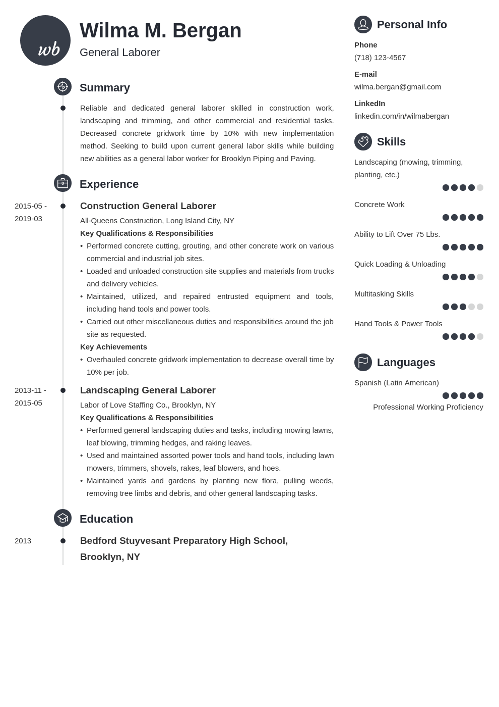 general labor resume example template primo