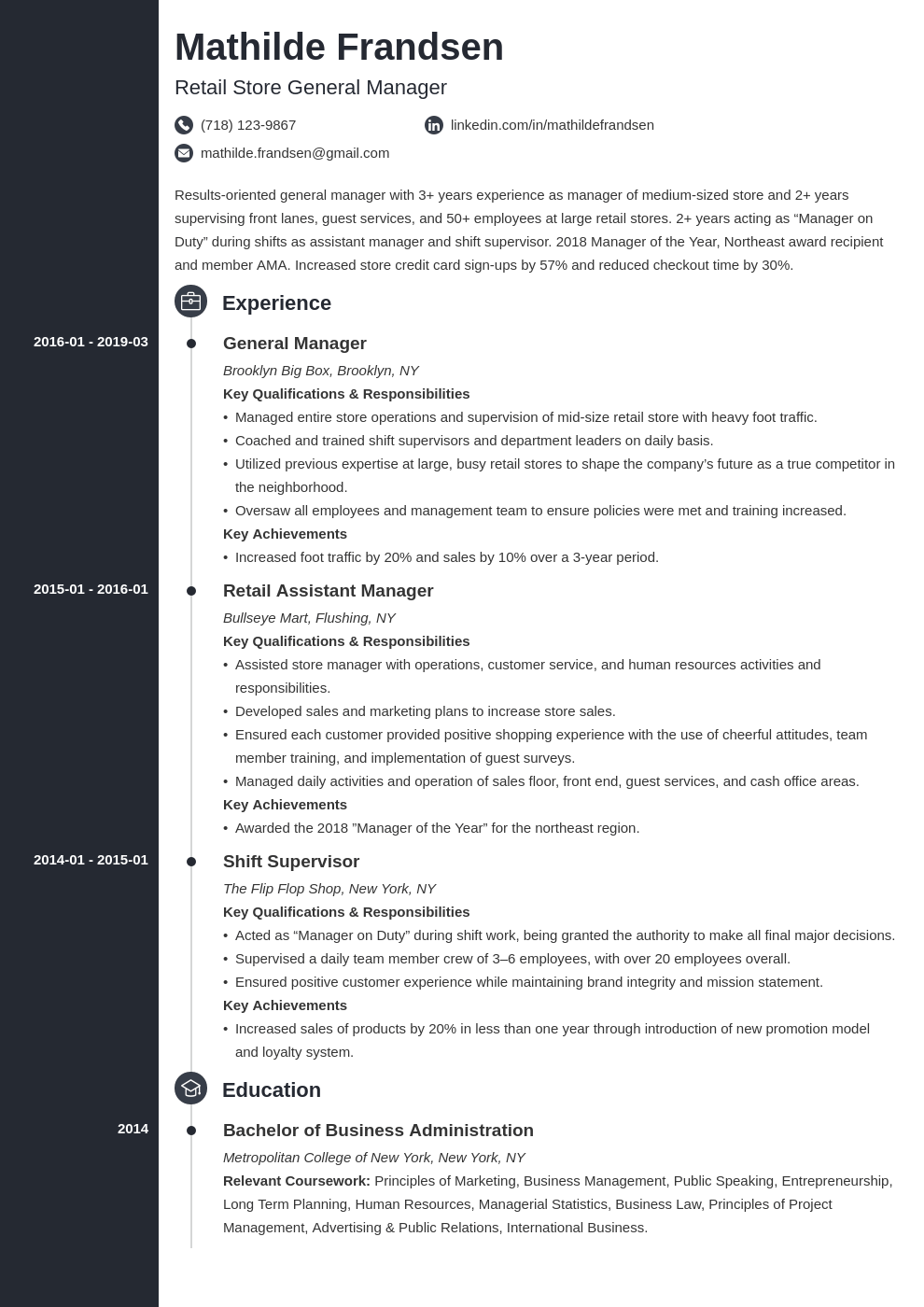 general manager resume example template concept