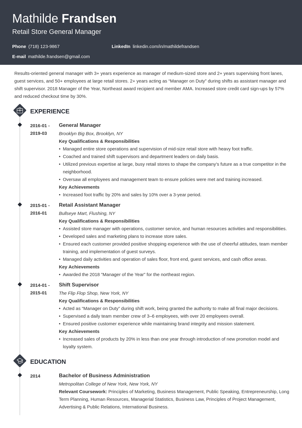general manager resume example template diamond