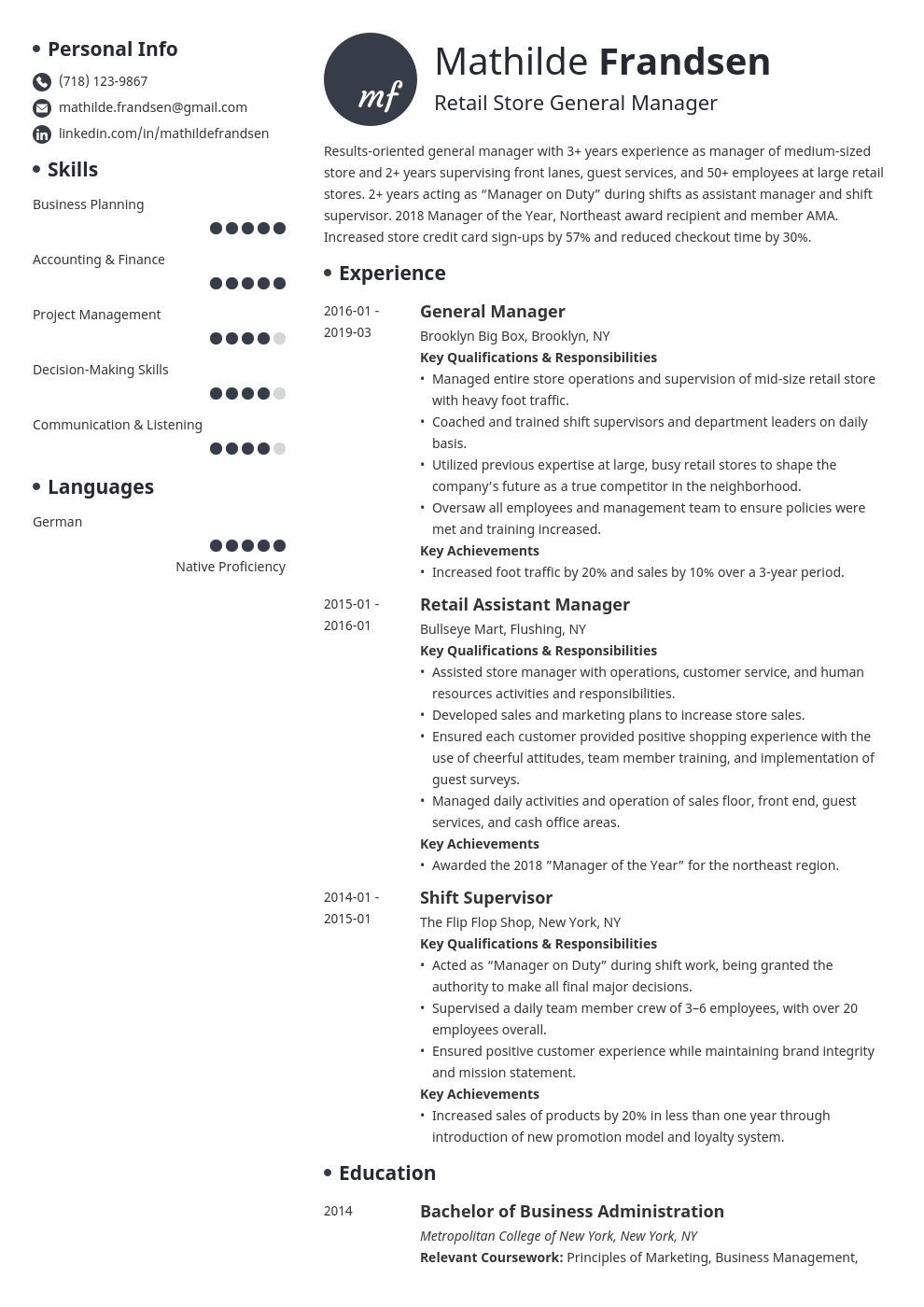 general manager resume example template initials