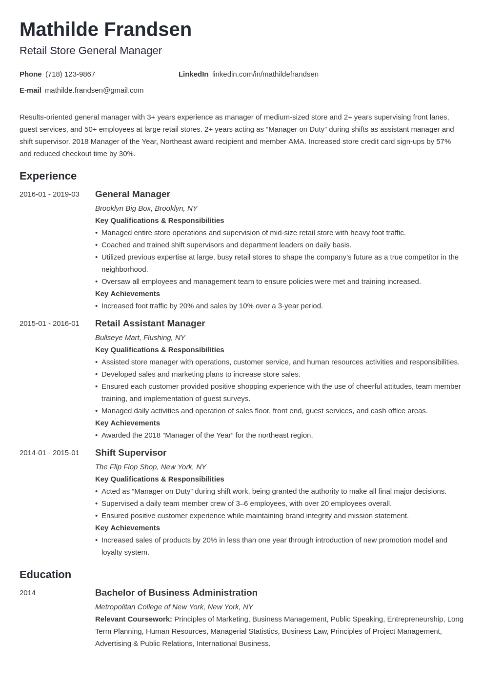 general manager resume example template minimo