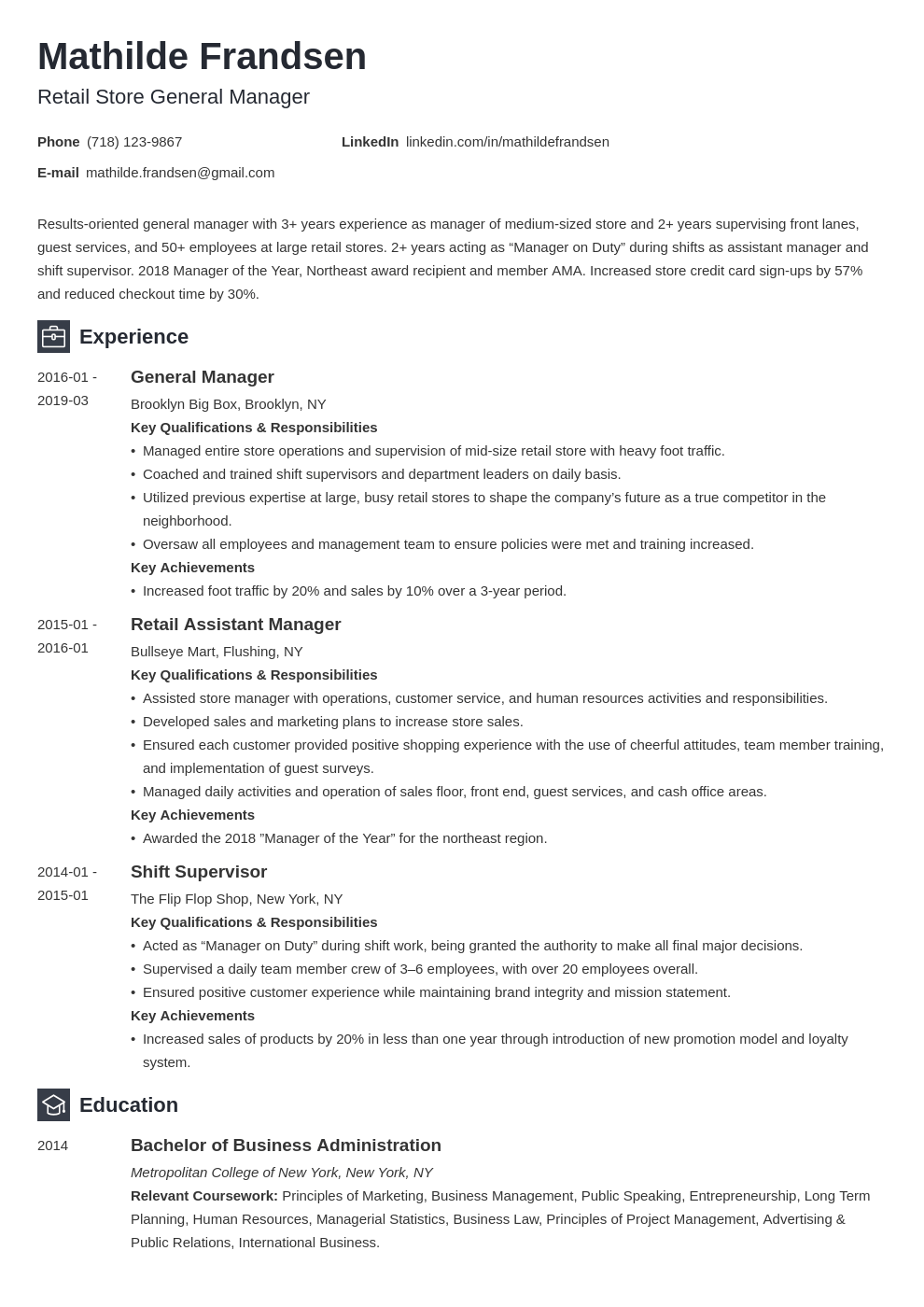 general manager resume example template newcast