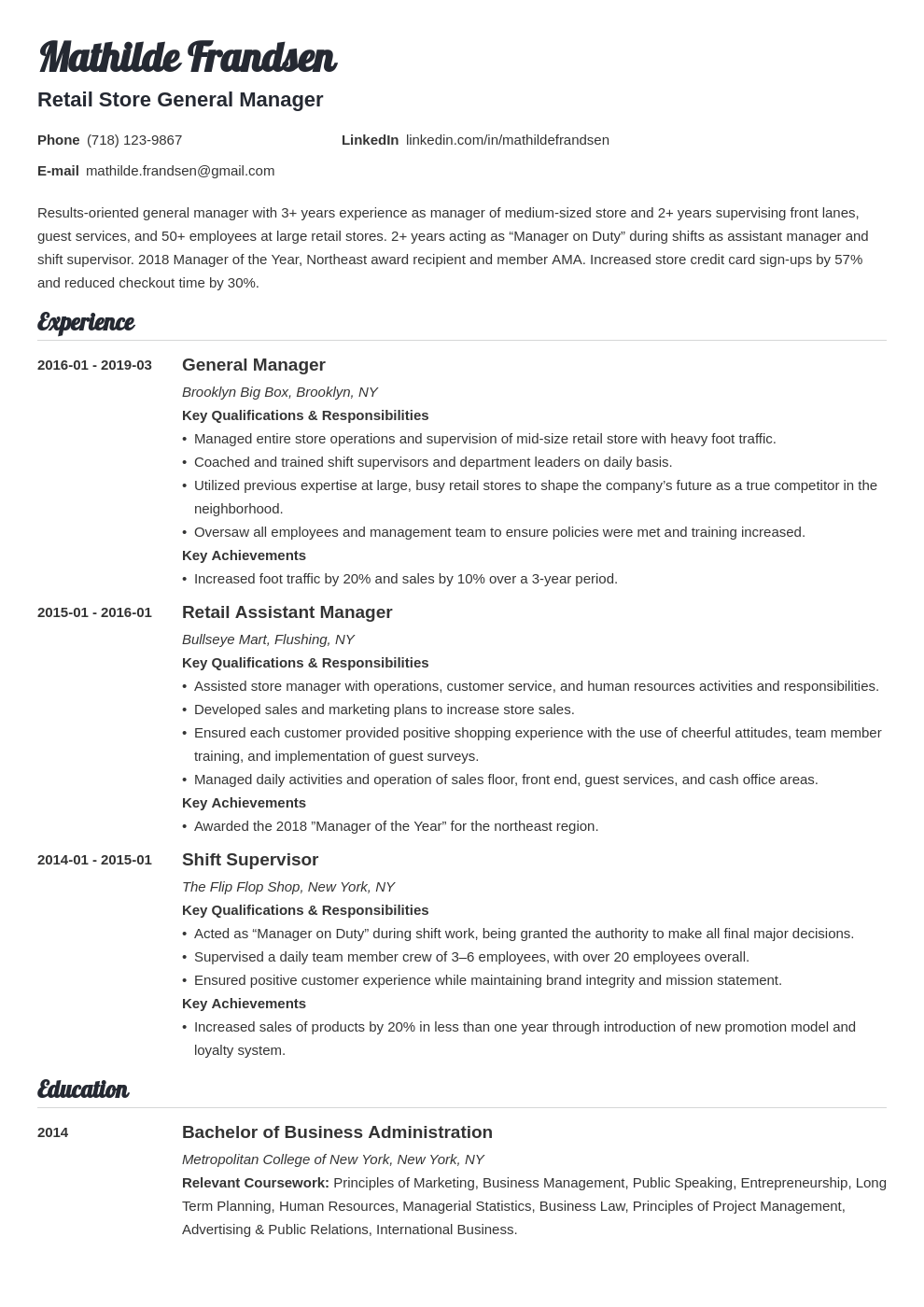 general manager resume example template valera