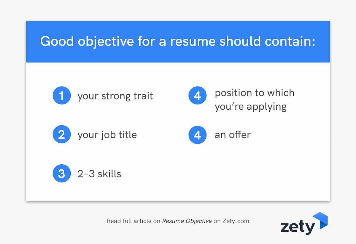 Good objective for a resume should contain: infographic