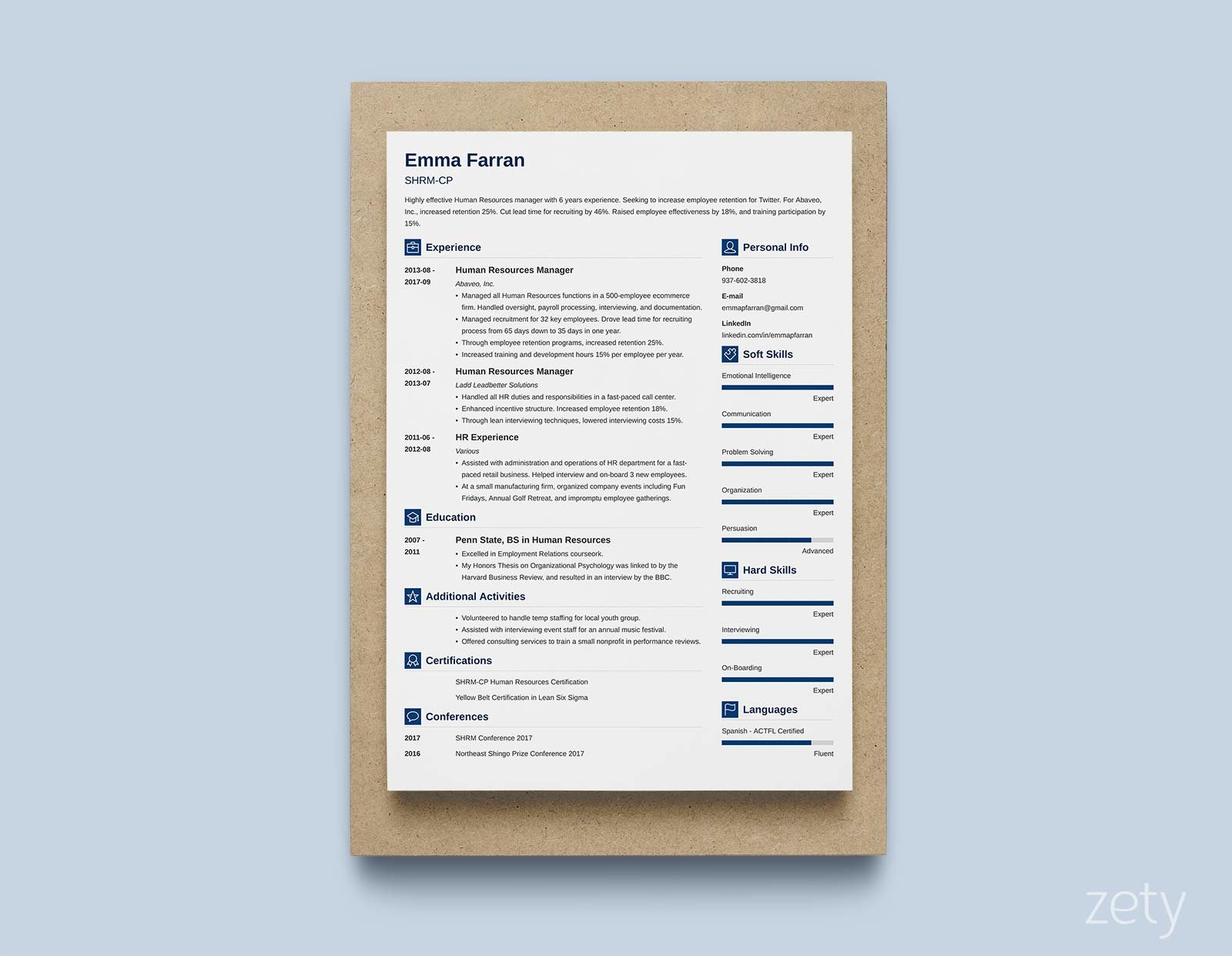 example of good resume format with two columns