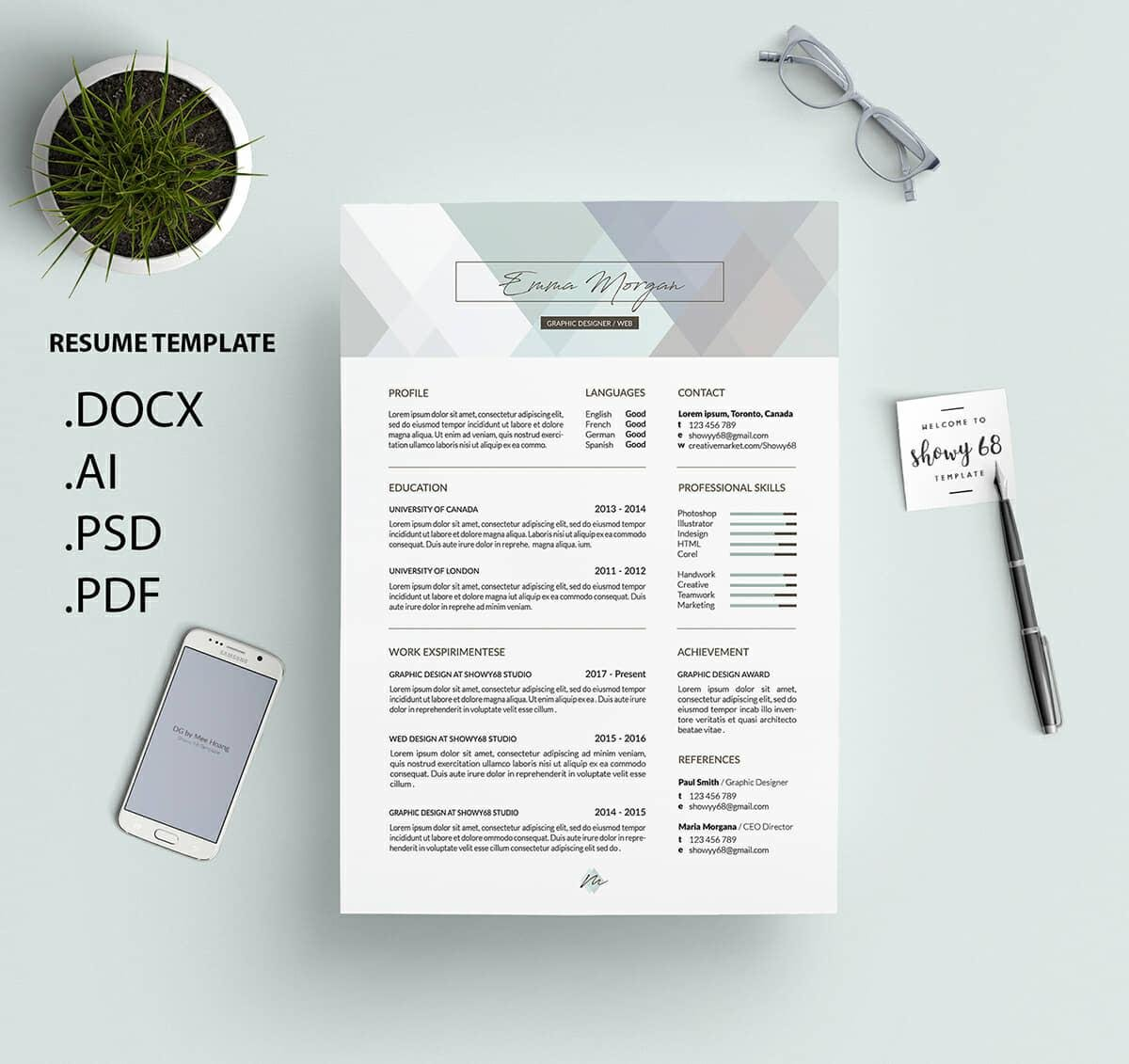 good resume template for word in pastel colors