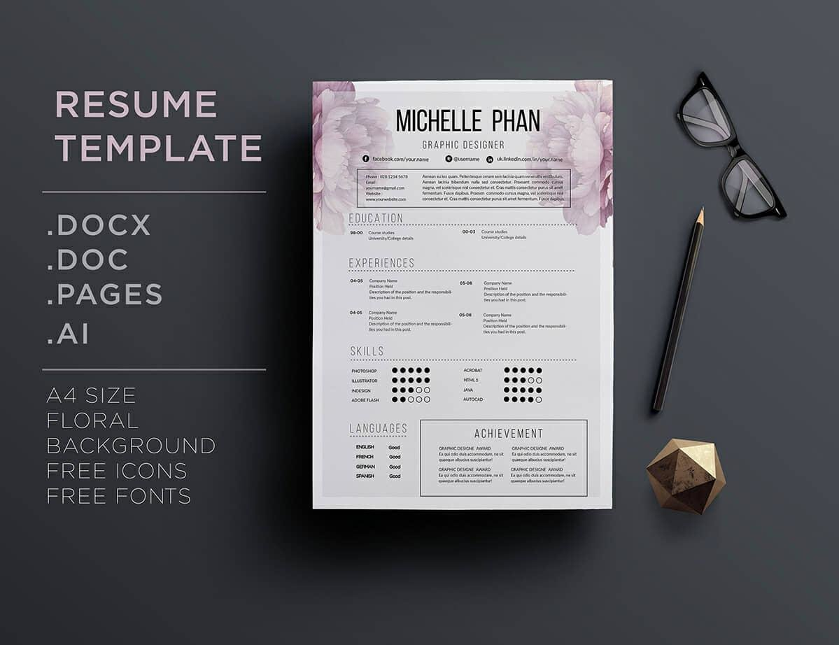 good resume layout example with floral header