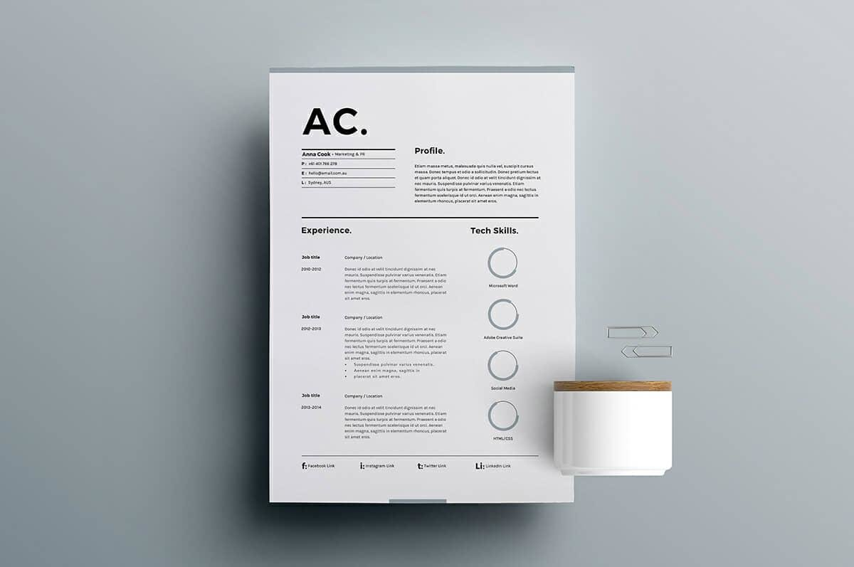 good resume template with big initials