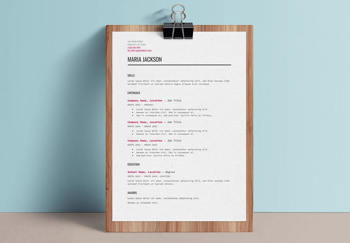 Google Drive Resume On Clipboard  Google Doc Resume Template