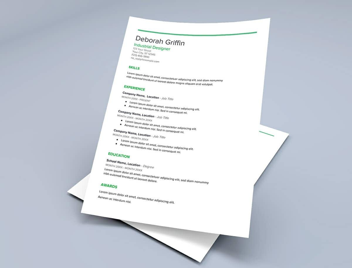 Resume Templates For Google Docs With Green Details  Google Doc Resume Template