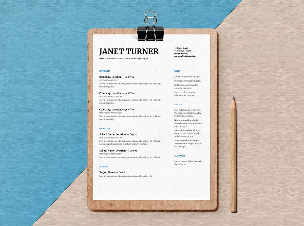 Easy To Read Google Doc Resume Template