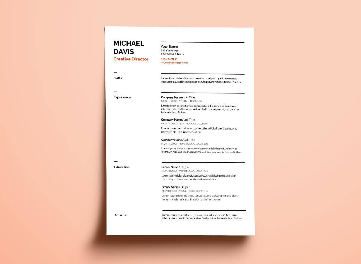 Google Docs Resume Template With Thick Section Separators  Resume Template For Google Docs