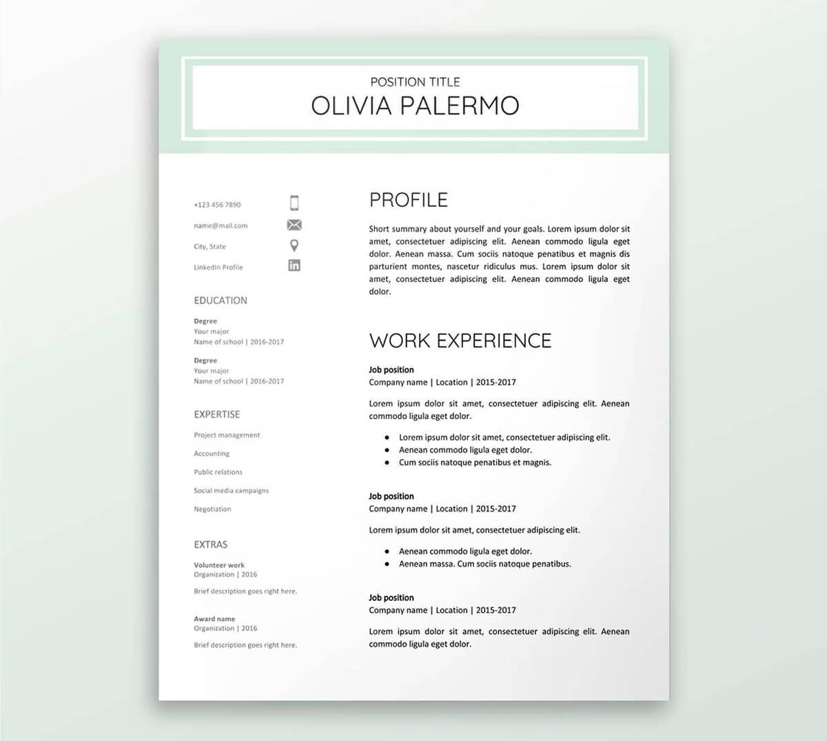 Gentil Green Google Documents Resume Template