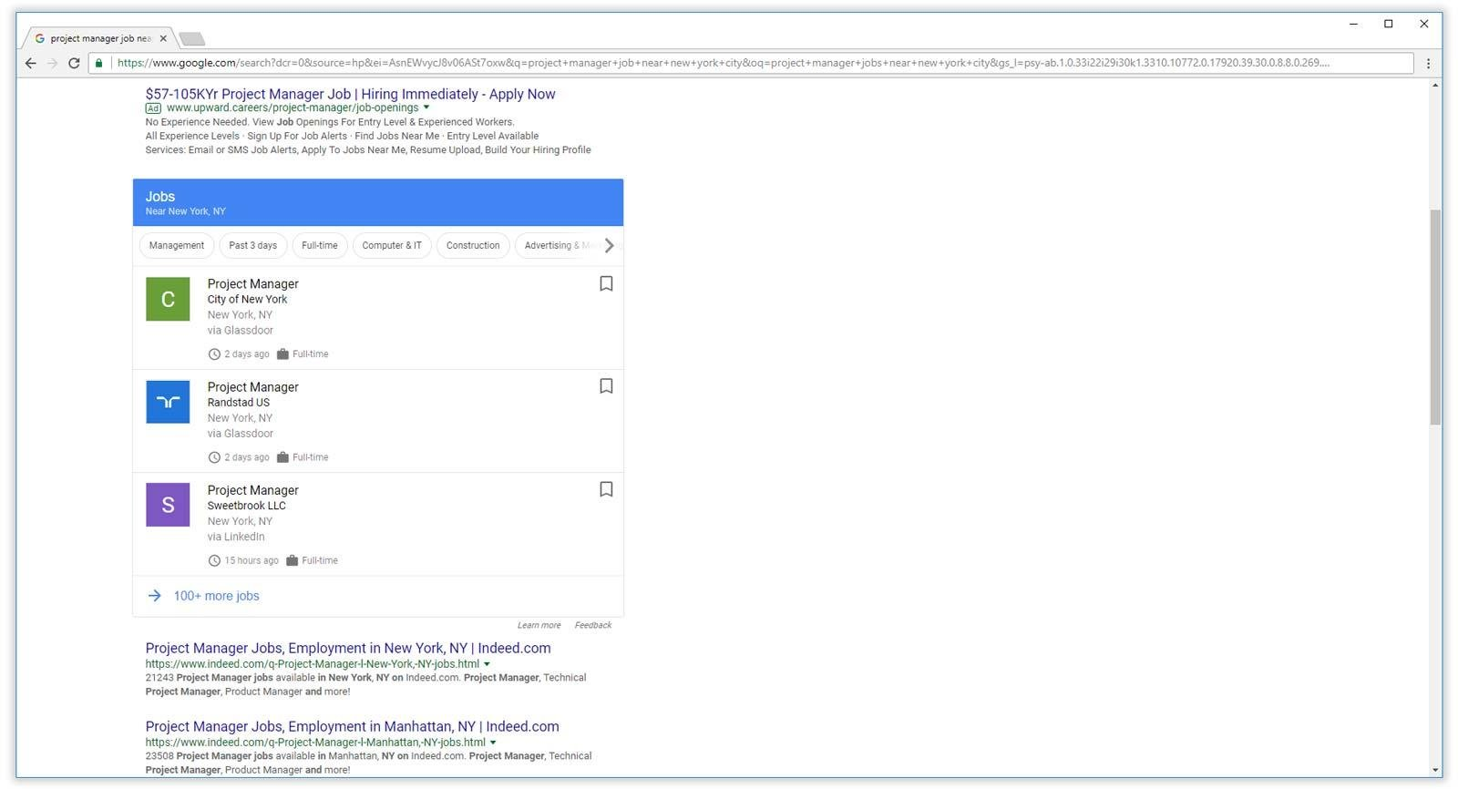 google for jobs showing in search results