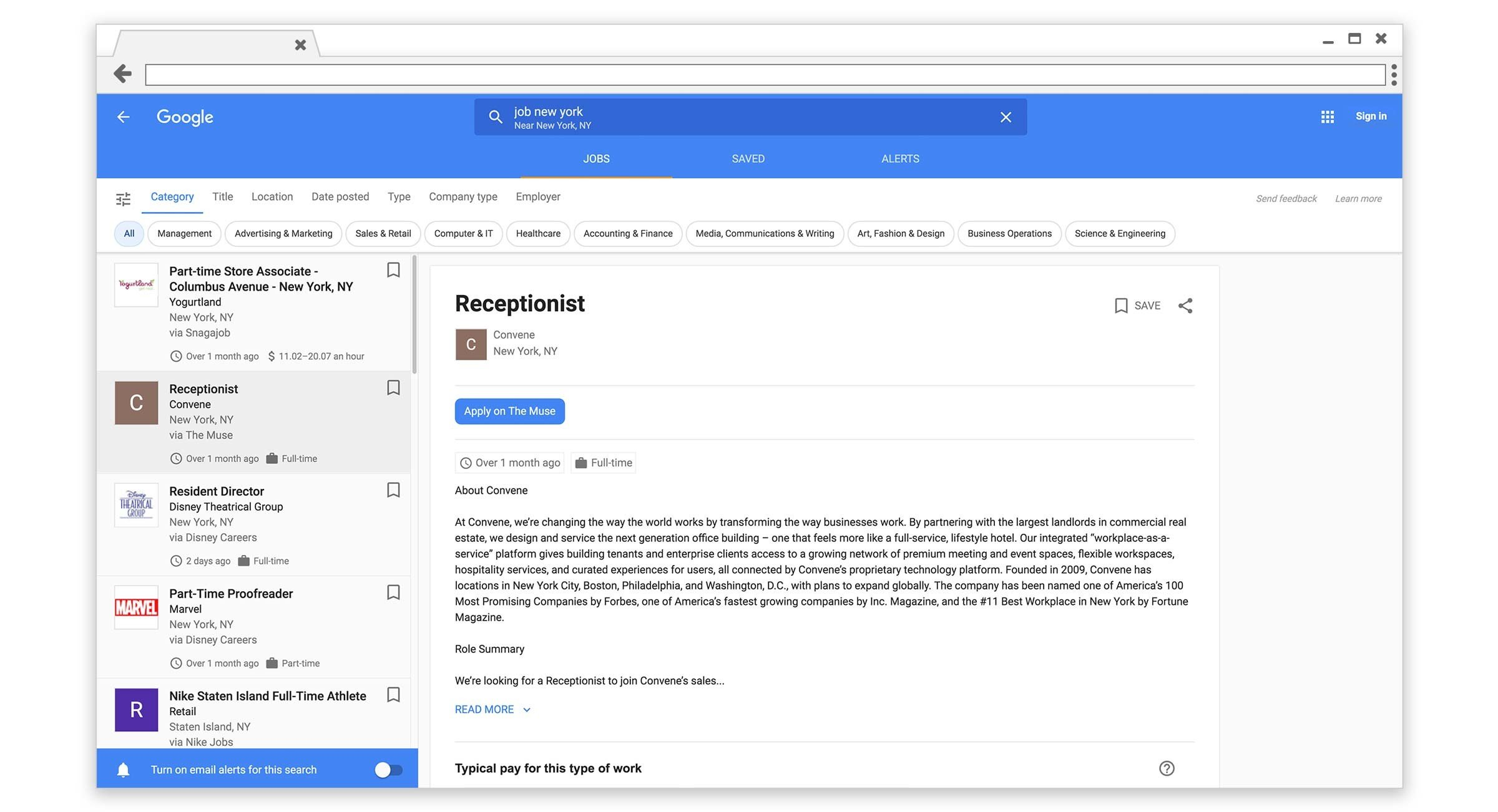 google for jobs dashboard