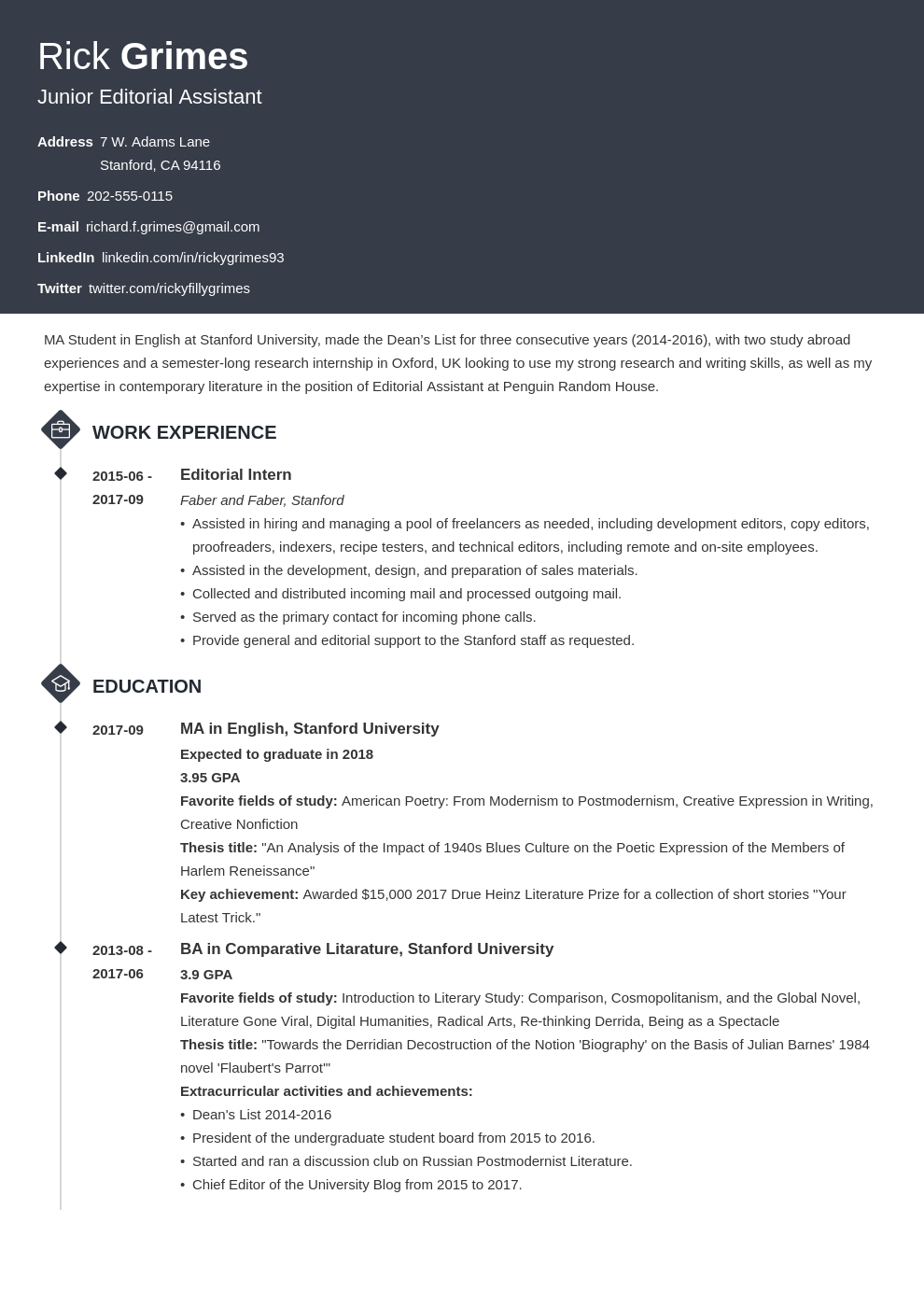 graduate cv template diamond