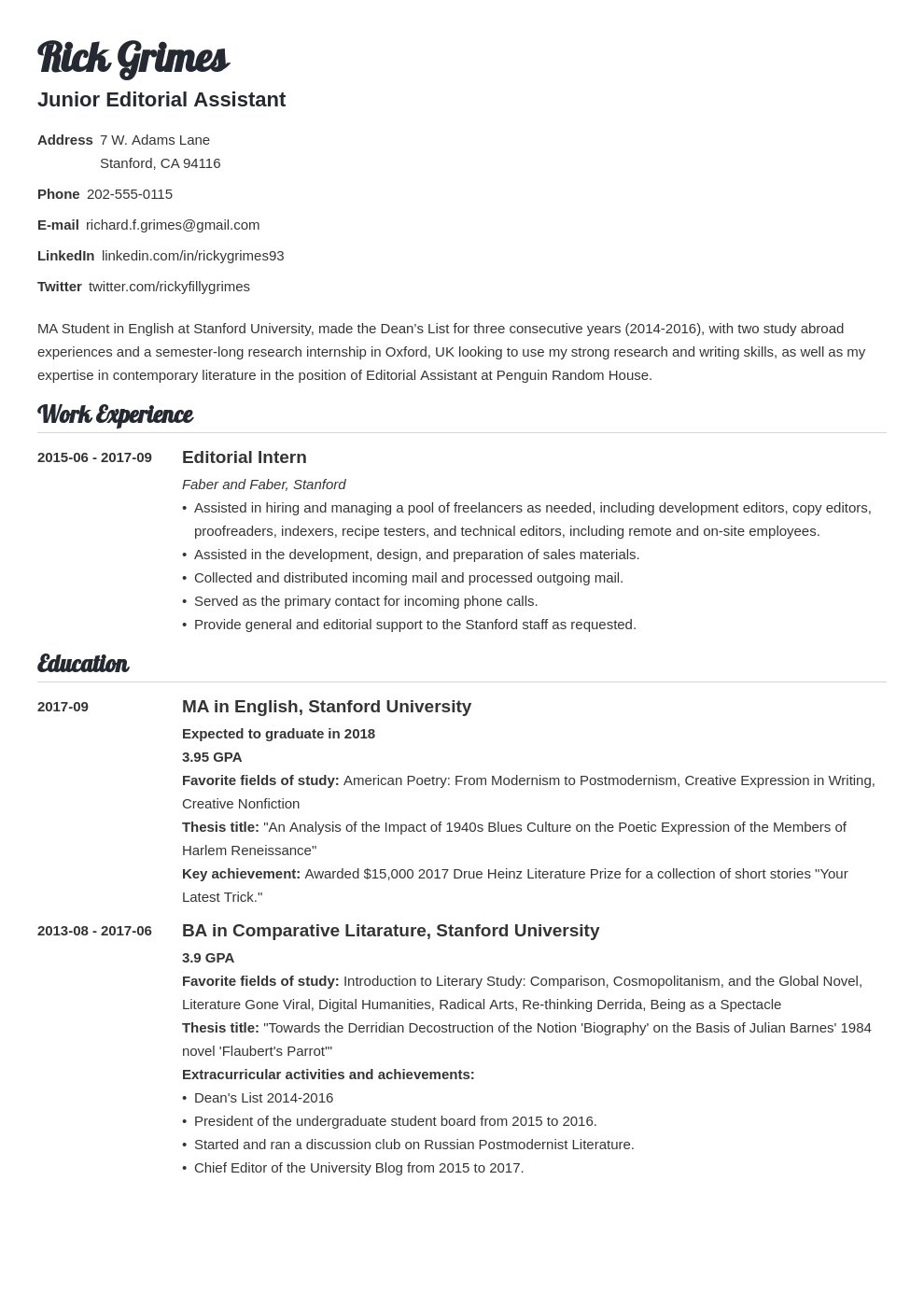 Graduate Student Cv Example Academic Cv Template For Grads