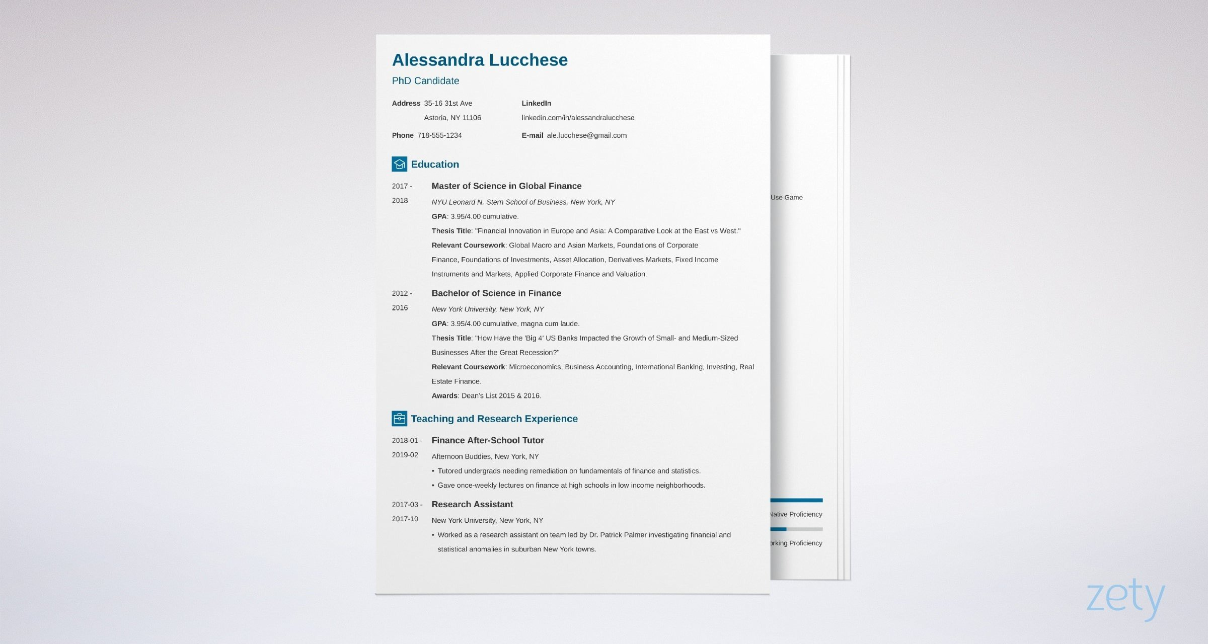 graduate school resume templates