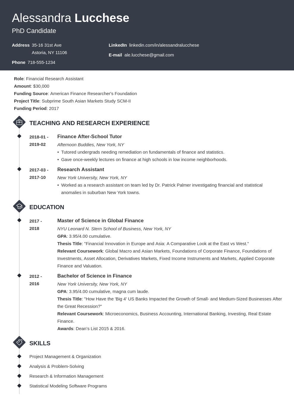 graduate school resume example template diamond