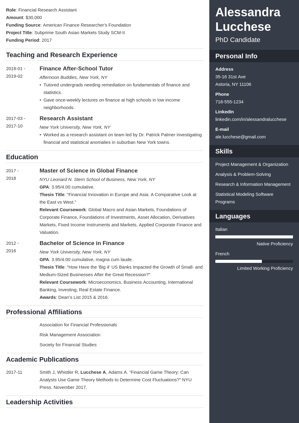 graduate school resume example template enfold