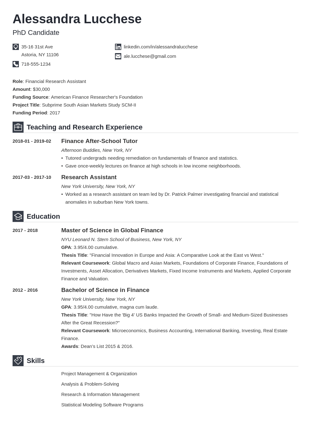 graduate school resume example template iconic