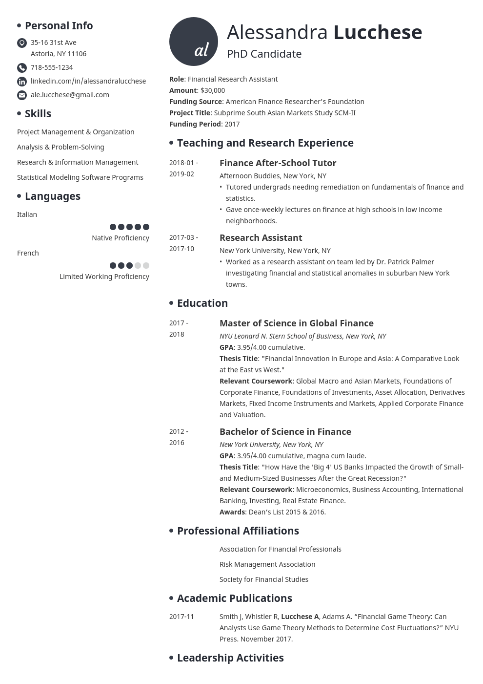 graduate school resume example template initials