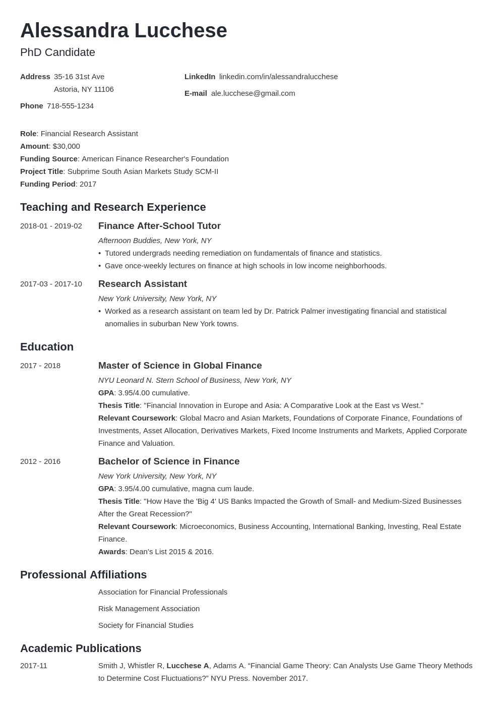 Resume For Graduate School Application Template Examples