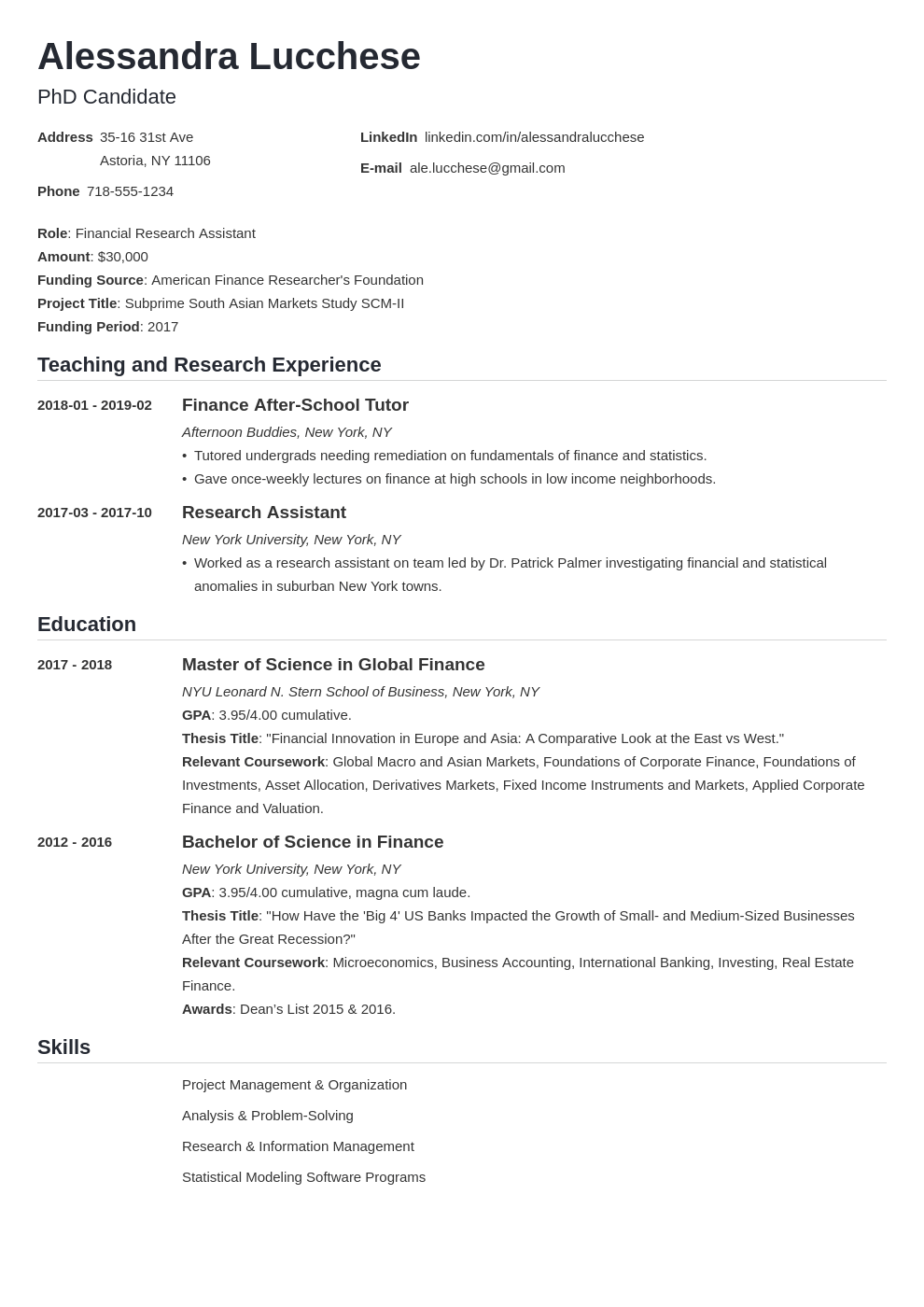 graduate school resume example template nanica