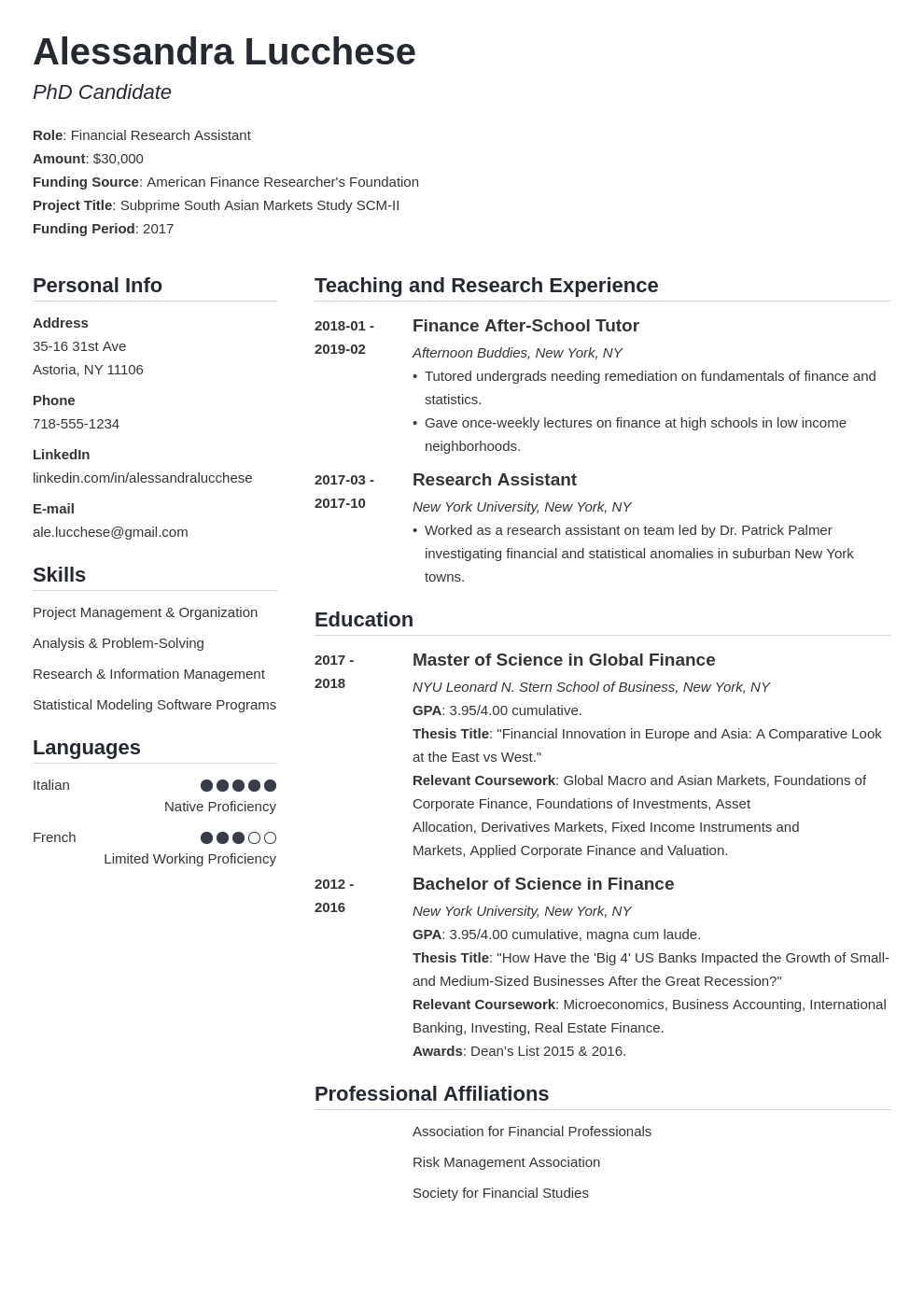 graduate school resume example template simple