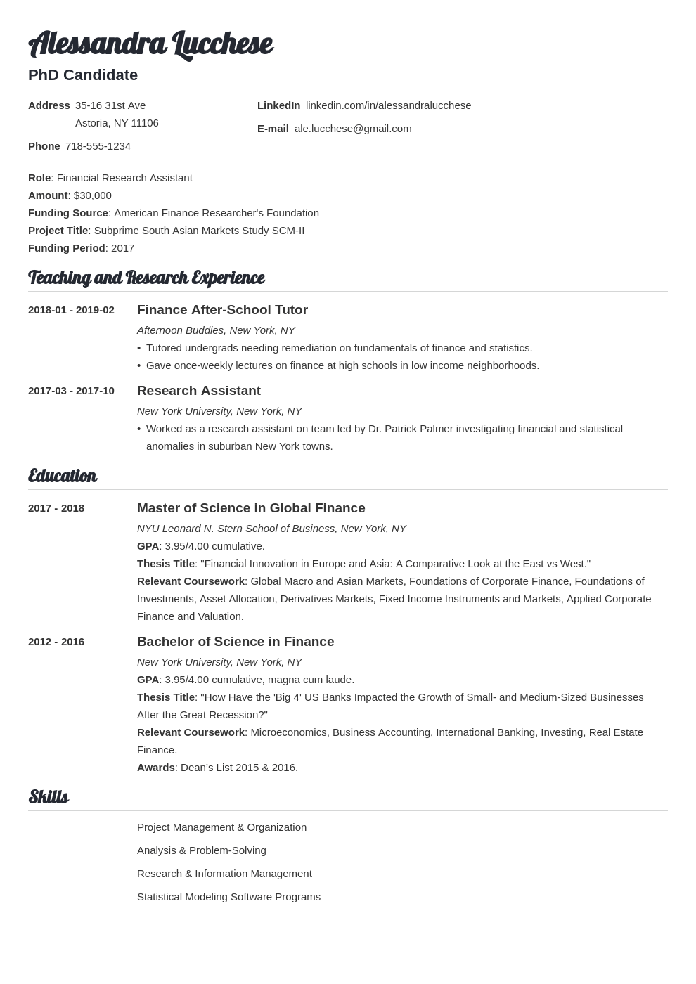 graduate school resume example template valera