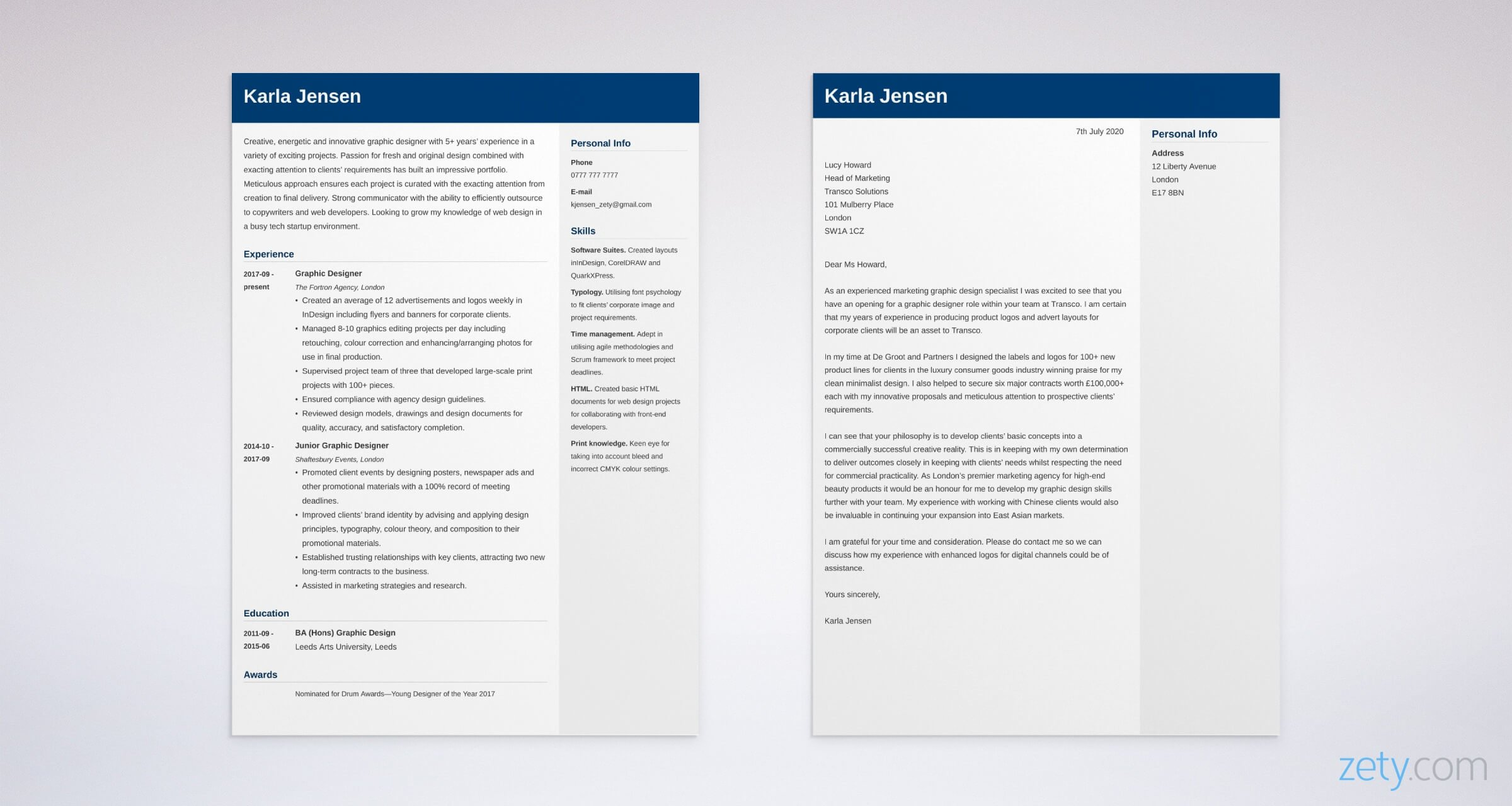 graphic designer cv and cover letter set