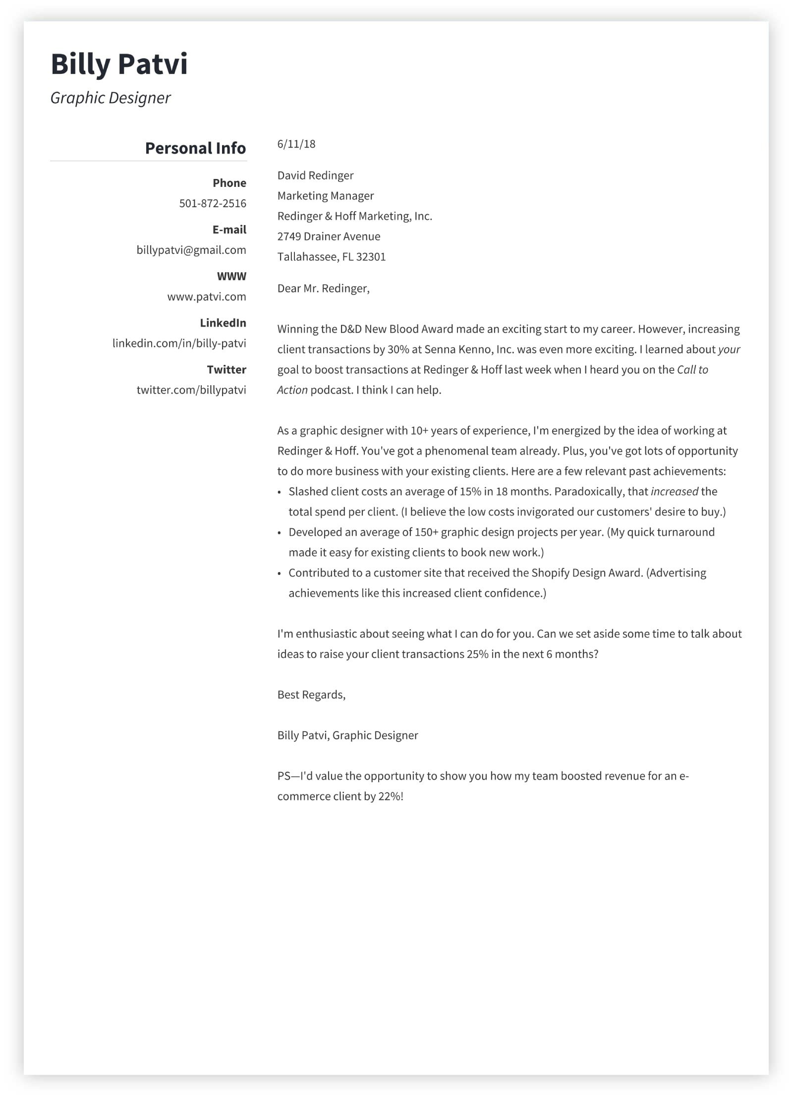 Graphic Design Cover Letter Sample