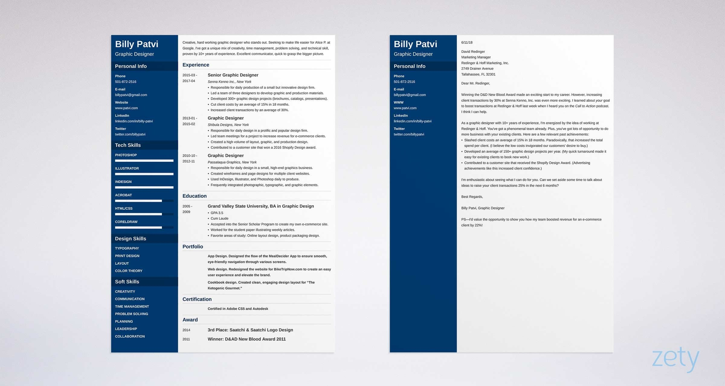graphic designer resume and cover letter set