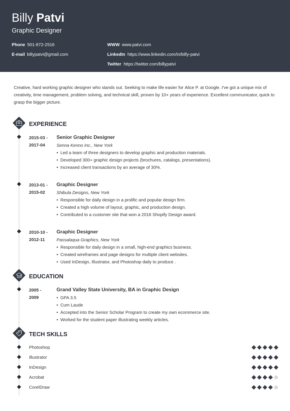 Graphic Designer Resume Examples And Design Tips For 2020