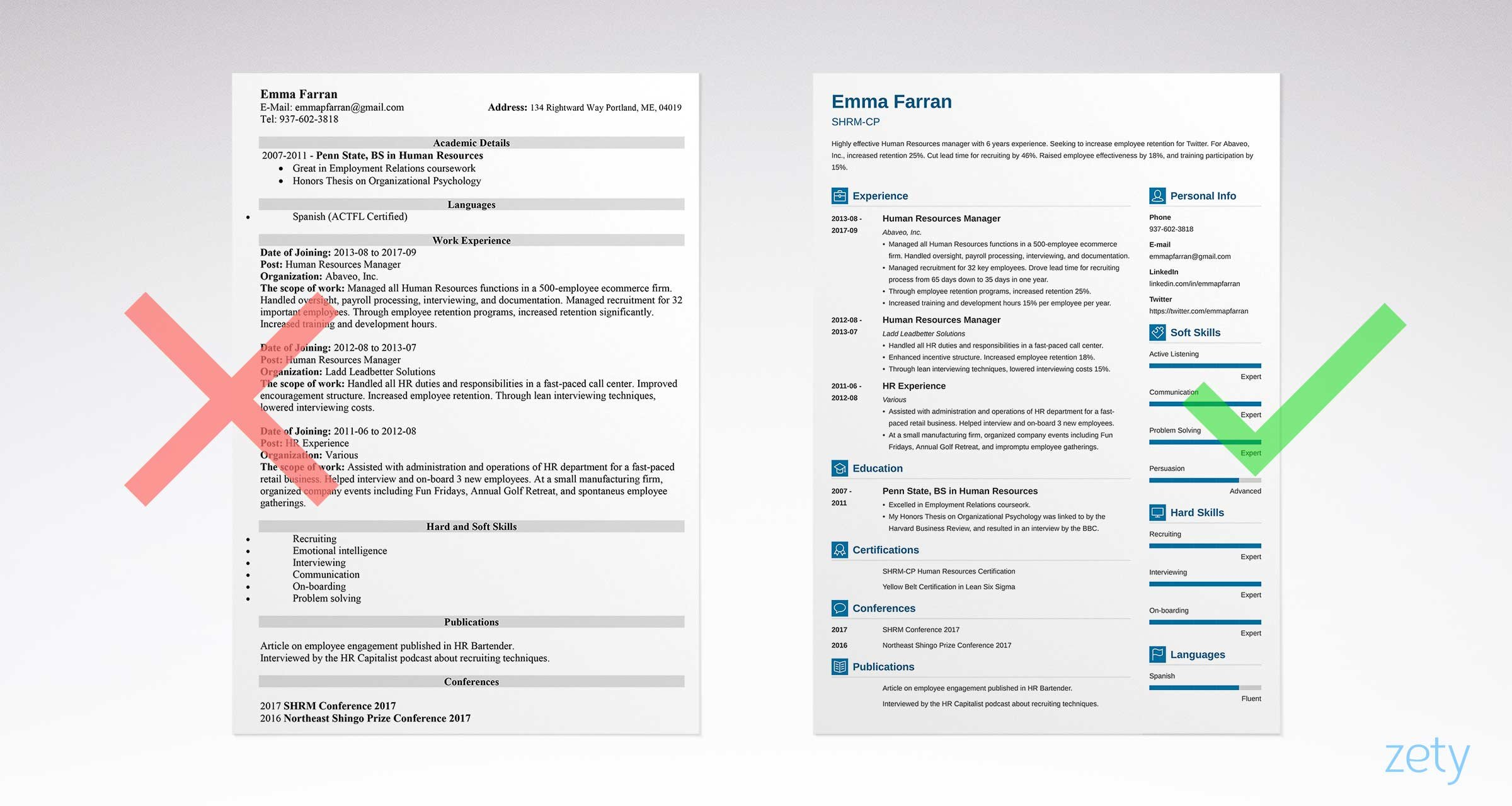 Bad And Great Resume Examples Comparison