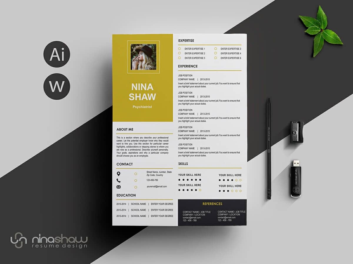 great resume template with picture and golden details