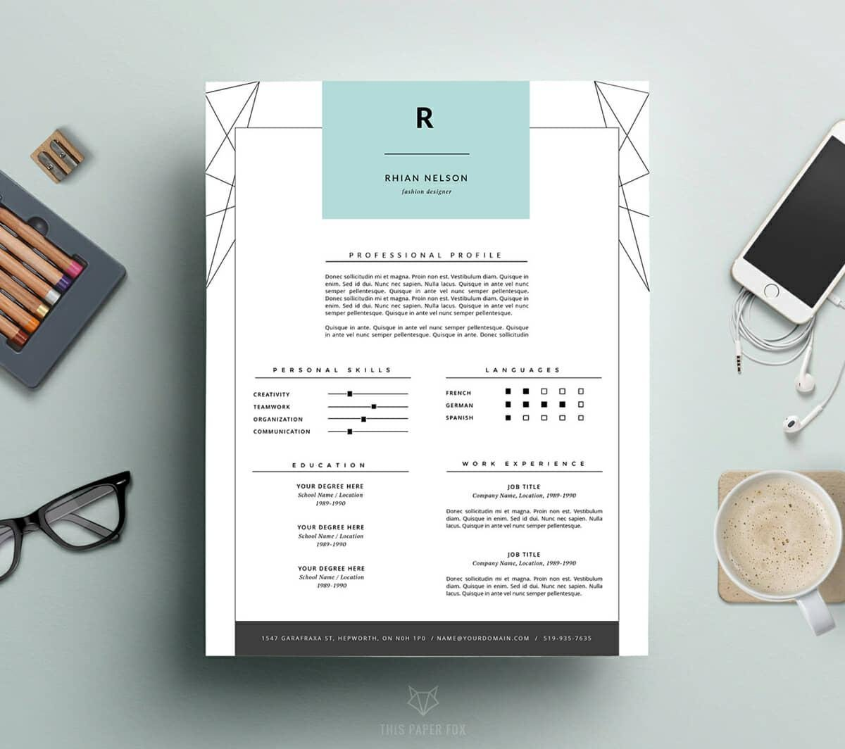 great resume sample with geometric design