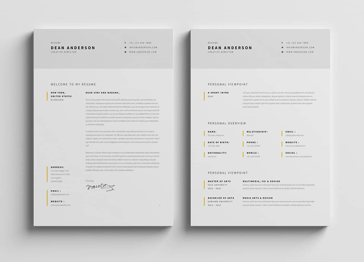 great resume samples with yellow elements and lots of white space