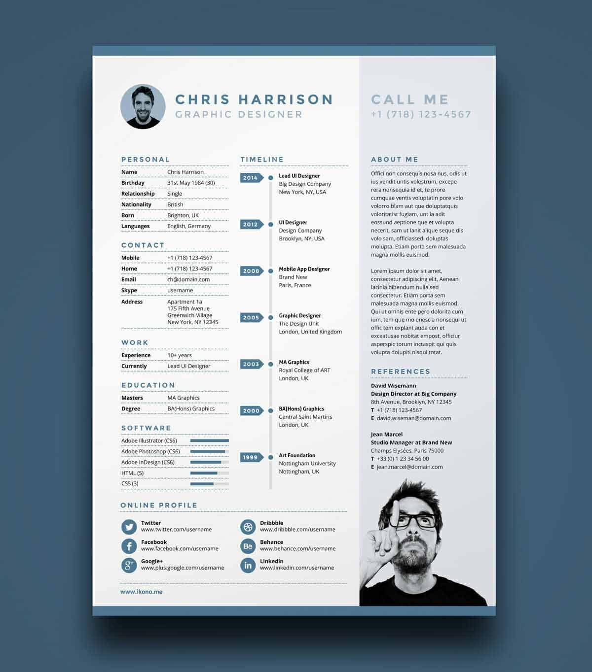 free great resume template in blue - Resume Templates Pages