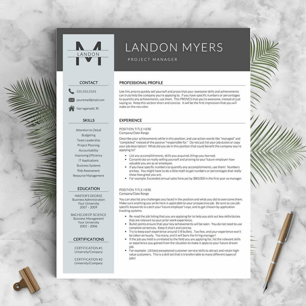 great sample resume with header and sidebar