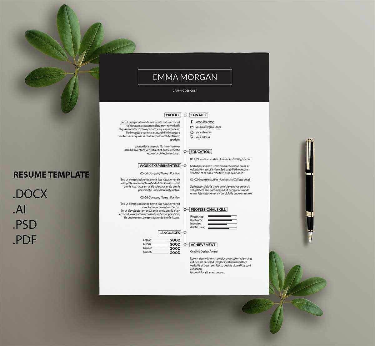 great resume template with timeline and big header