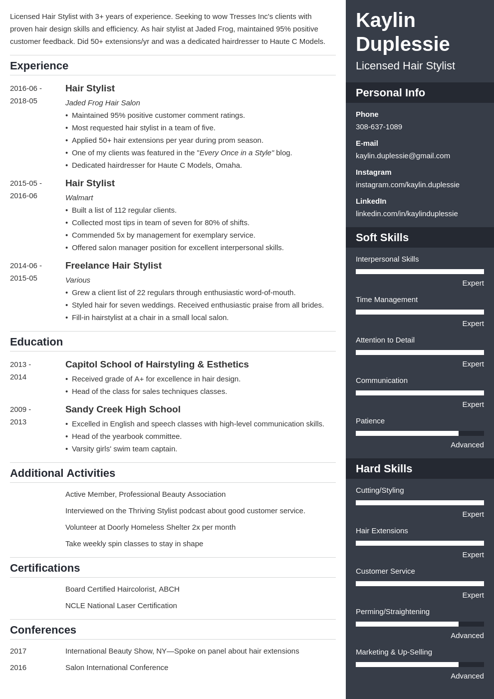 hair stylist resume example template enfold