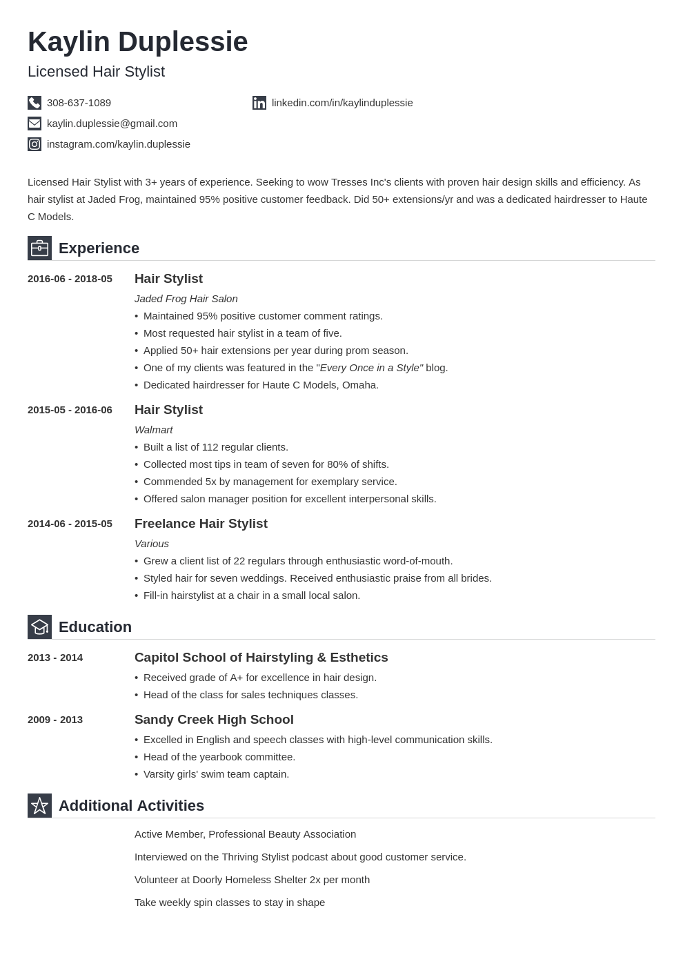 hair stylist resume example template iconic