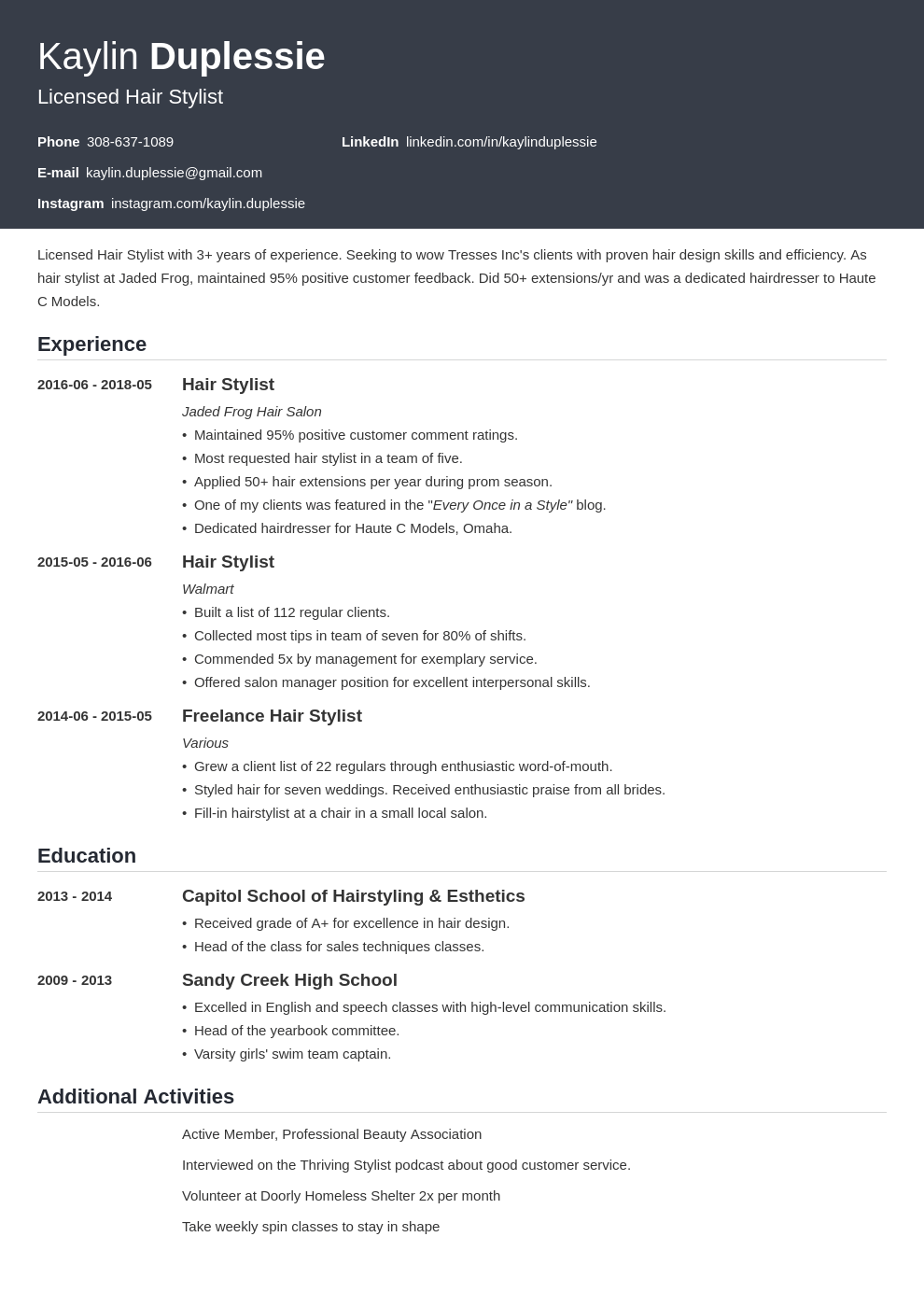 hair stylist resume example template influx
