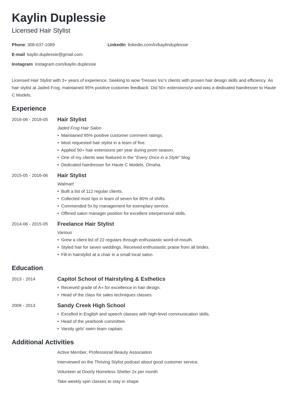 hair stylist resume example template minimo
