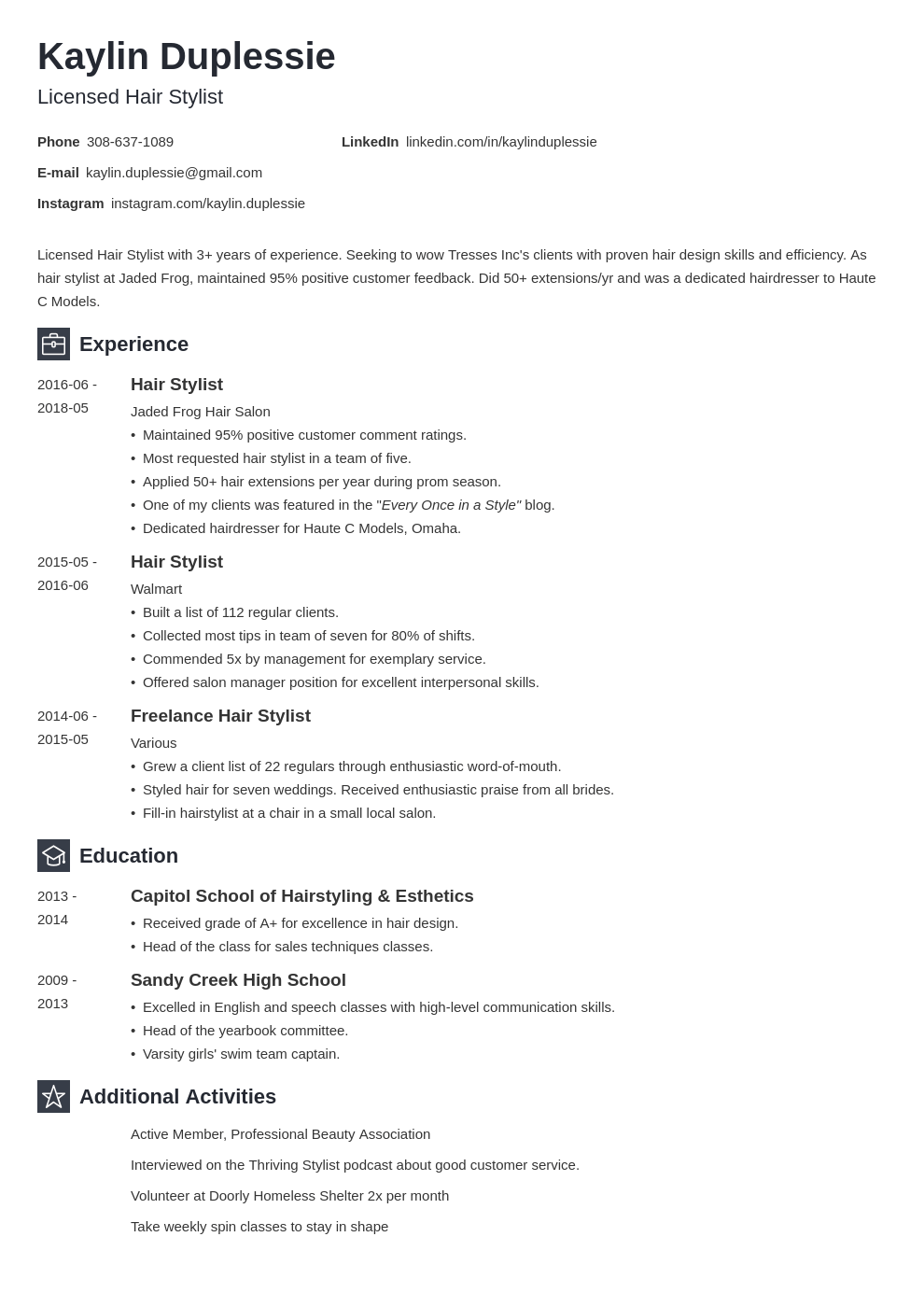 hair stylist resume example template newcast